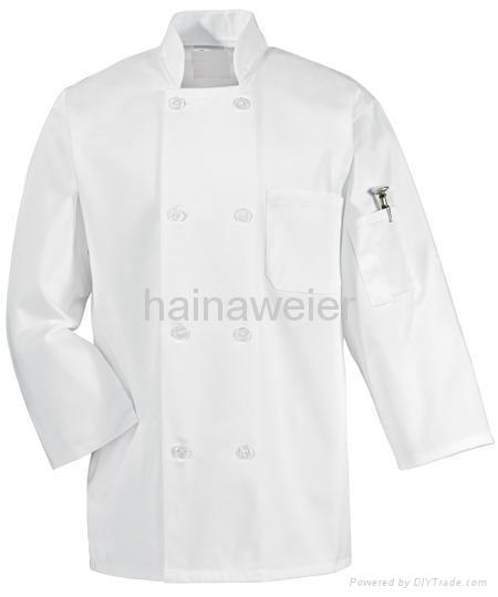 Hot-sale White long sleeve chef coat/chefs jacket/chefs wear/chefs uniform 1