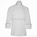 Traditional White Fineline w/Black piping chef coat