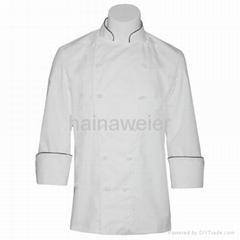 白色长袖厨师服