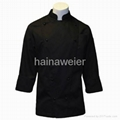 Traditional Black fineline Twill w/Breast Pocket chef coat