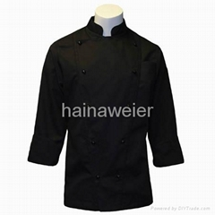 Custom Traditional Black fineline Twill w/Breast Pocket chef coat/chefs wear