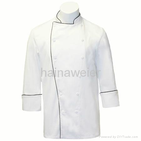 OEM Traditional White 100%cotton,Black piping chef jacket/chefs uniform