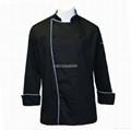 黑色长袖厨师服(镶蓝色牙条)