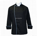 Traditional Black Twill w/Blue Piping/Pocket chef coat 1