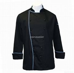 Hot-sale Traditional Black Twill w/Blue Piping/Pocket chef coat/chefs wear