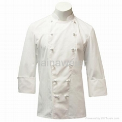 Custom Traditional White Fineline w/Knot Buttons chef coat/chefs wear