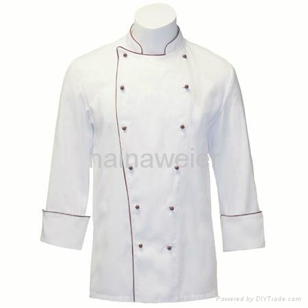 OEM Traditional White Twill w/Burgundy/Sleeve Pocket Chef coat/chefs wear 1