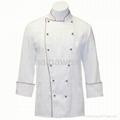 OEM Traditional White Twill w/Burgundy/Sleeve Pocket Chef coat/chefs wear