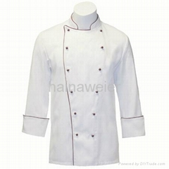 OEM Traditional White Twill w/Burgundy/Sleeve Pocket Chef coat/chefs wear
