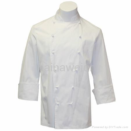 Hot custom Traditional White Fineline w/Studs/Sleeve Pocket Chef coat/chefs wear 1