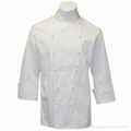 Hot custom Traditional White Fineline w/Studs/Sleeve Pocket Chef coat/chefs wear