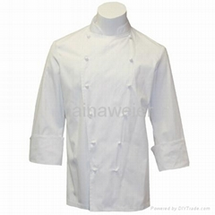Hot custom Traditional White Fineline w/Studs/Sleeve Pocket Chef coat/chefs wear