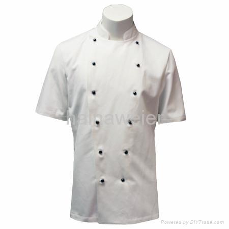 Custom Traditional White Twill, Black Studs/Short Sleeves chef Jacket/chefs coat 1