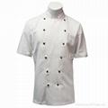 Custom Traditional White Twill, Black Studs/Short Sleeves chef Jacket/chefs coat