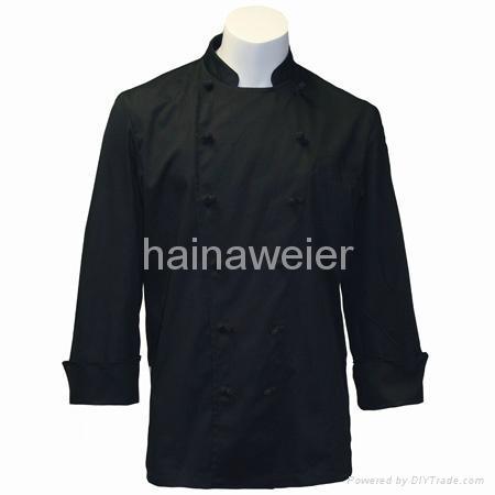 OEM Traditional Black Fineline w/Knots/Sleeve Pocket chef coat,chefs jackets 1