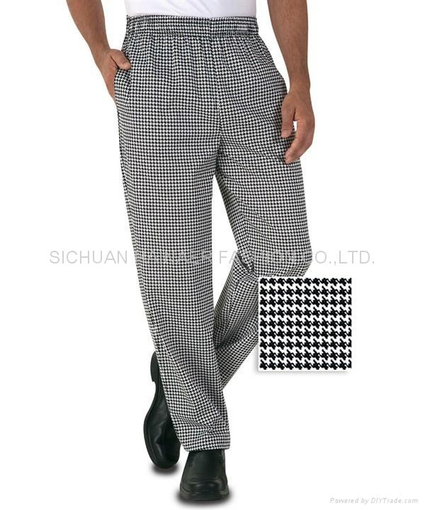 传统格子厨师裤 1