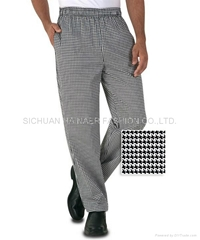 传统格子厨师裤