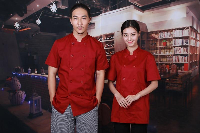 Customized Chef Uniform/Chef Jackets Uniform Double Breasted Short Sleeves Red 1