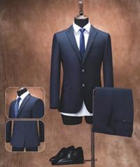 定製全羊毛海納維爾男式2粒扣高檔精品西服 職業裝