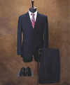 OEM men's Slim-fit suit in patterned virgin wool