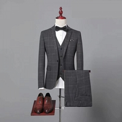 Hot Grey Tweed Herringbone Jacket Blazer Man Suit Tailored Slim Fit Suits