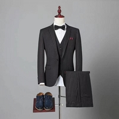 wholesale bespoke tailored 3 piece slim fit wedding coat pant design custom men