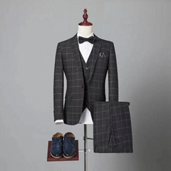 Classic Tweed Herringbone Wool Blend Men Suit 3 Pieces Blazer
