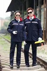 成都定製防靜電藍色工作服、防寒服、棉服