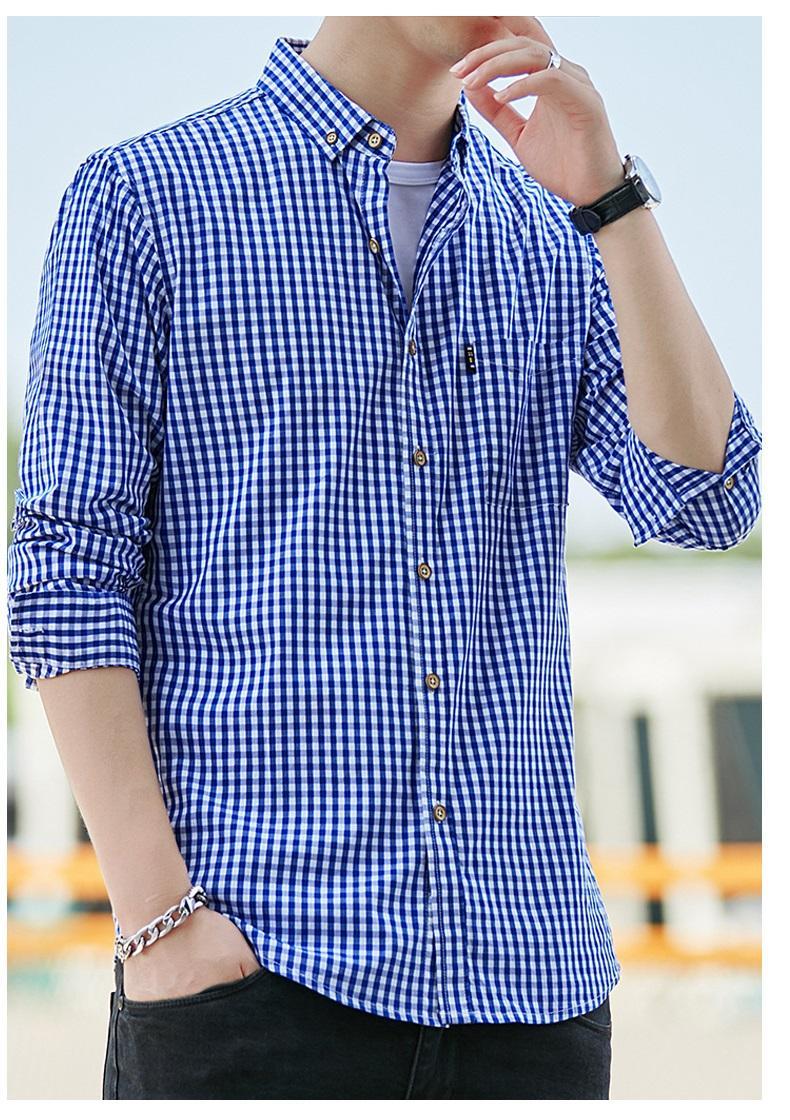 2021春夏男装透气棉长袖格子衬衣休闲修身上衣衬衫 1