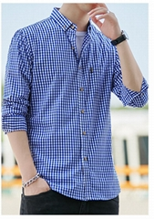 2021春夏男装透气棉长袖格子衬衣休闲修身上衣衬衫