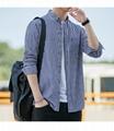 2021春夏男装透气棉长袖格子衬衣休闲修身上衣衬衫 7