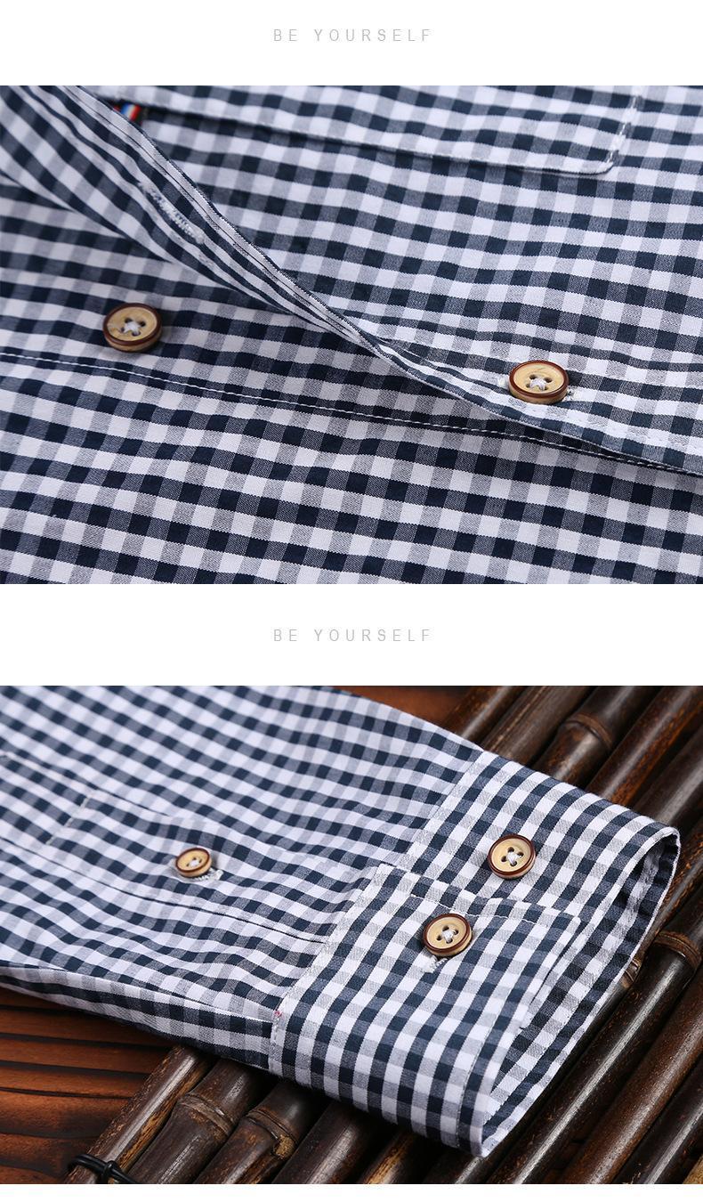 2021春夏男装透气棉长袖格子衬衣休闲修身上衣衬衫 13