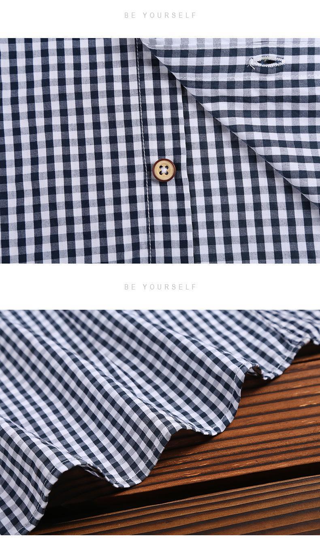2021春夏男装透气棉长袖格子衬衣休闲修身上衣衬衫 14