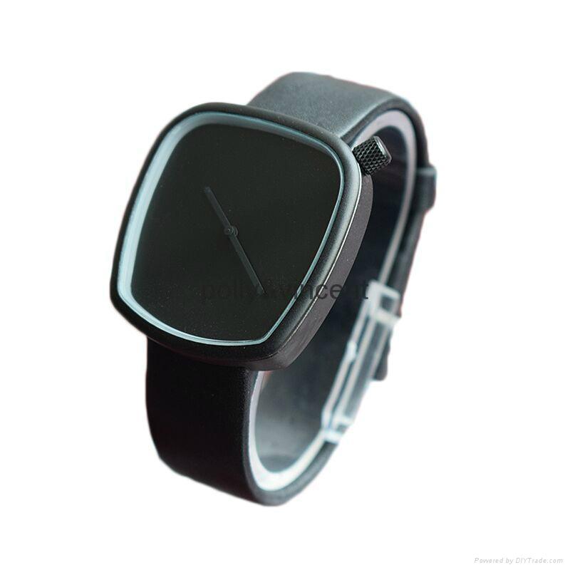 新款石英表簡約設計皮帶表鵝卵石形狀手錶 2