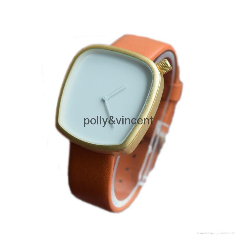 新款石英表簡約設計皮帶表鵝卵石形狀手錶 3