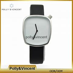 新款石英表簡約設計皮帶表鵝卵石形狀手錶