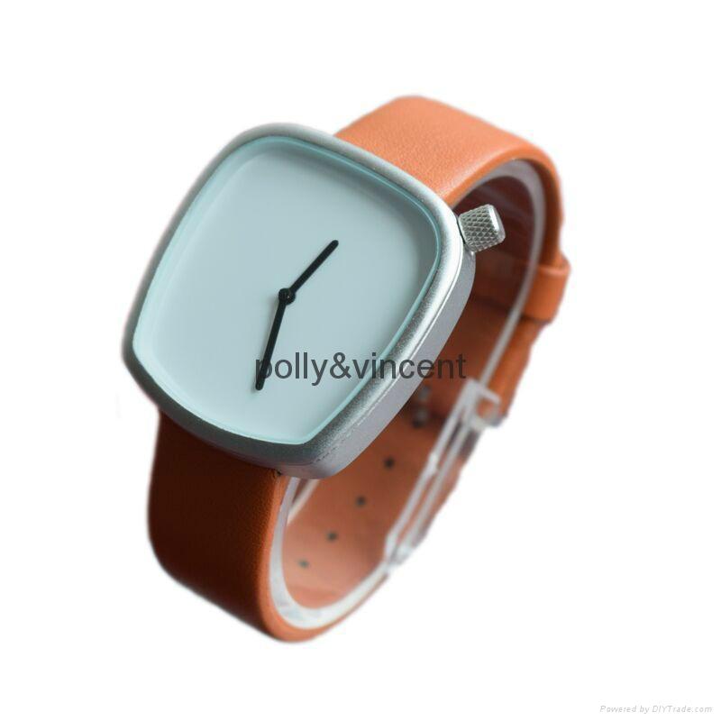 新款石英表簡約設計皮帶表鵝卵石形狀手錶 4