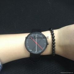 新款红点手表男女式石英表简约欧美风大表盘皮带表