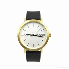 宝丽文森新款手表男女士简约石英表商务休闲皮带表