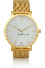 寶麗文森新款手錶男女士簡約石英表商務休閑網帶表