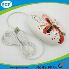 Factory supply water transfer printing USB optical mouse for computer/la
