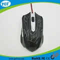 Factory LED colorful usb wired optical mouse game mouse