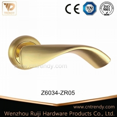 Polished Brass Zinc Alloy Interior Lever Door Handle on Rose (Z6034-ZR05)