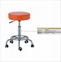 stainless steel round stool foam seating orange