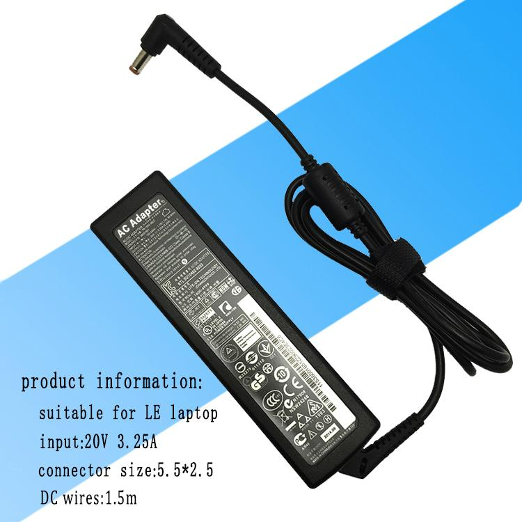 适用联想笔记本电源适配器  输出功率65W 20V 3.25A 超级本充电器 1