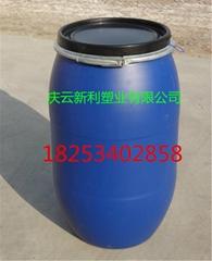山東125公斤塑料桶藍色開口125KG塑料桶125L化工桶