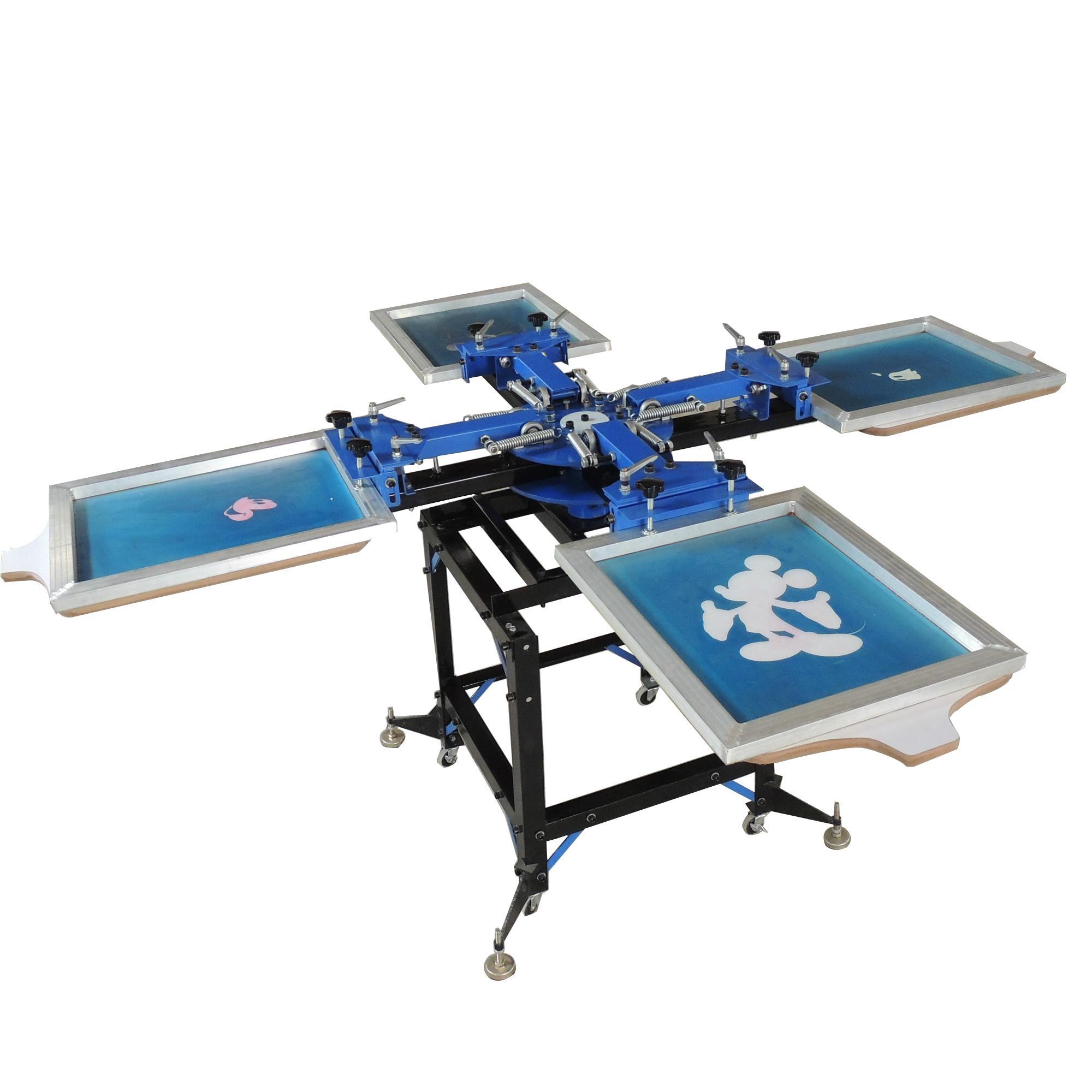 4 color 4 station silk screen printing machine t-shirt ...