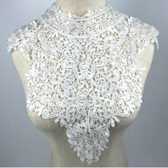 Large White Beautiful Embroidery Flower Lace Applique Collar Venise Lace Collar