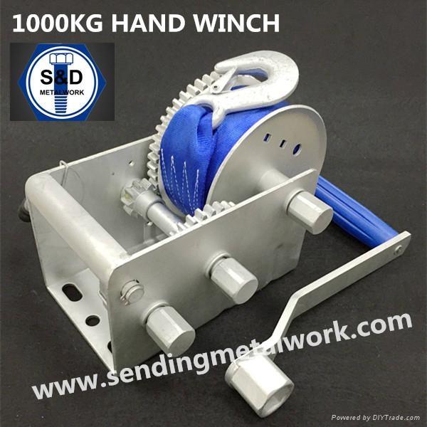 1500kg Hand Winch Strap/Webbing/Dyneema Rope 2speed- Boat Car Marine Trailer 2