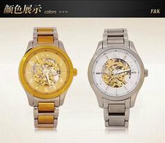 正品福康手錶機械表鏤空防水 時尚休閑腕表 金色瑞士男士手錶鋼帶